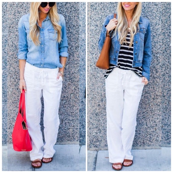 0fe46d02b6a25 Liz Claiborne White Linen Drawstring Pants
